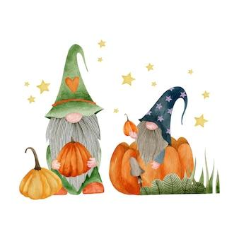 Акварельные иллюстрации гномов тыквы осенние растения праздник хэллоуин привет октябрь