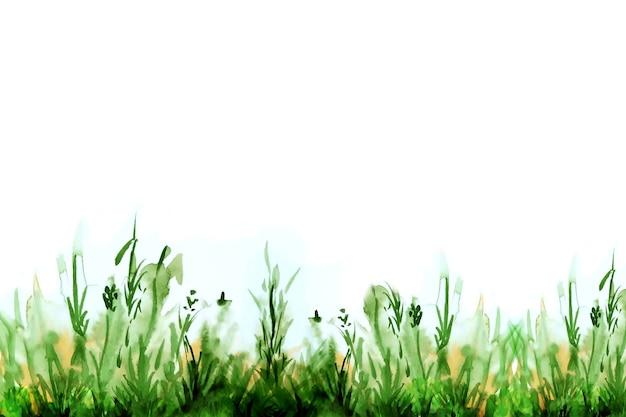 緑の草の水彩イラスト。