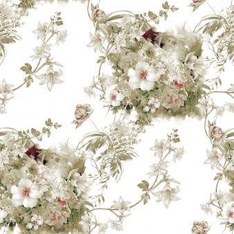 葉と花、シームレスなパターンの水彩イラスト