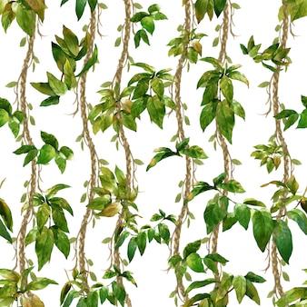 葉、白い背景の上のシームレスなパターンの水彩イラスト