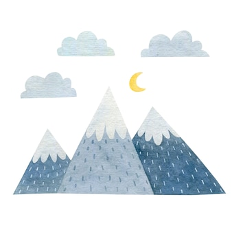 흰색 배경에 고립 된 산의 수채화 그림
