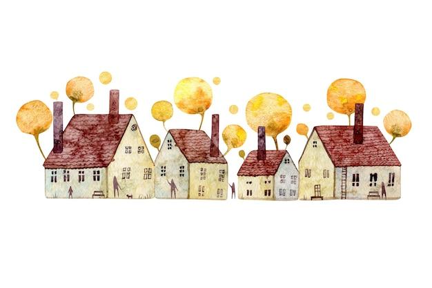 古いヨーロッパの家の水彩イラスト白い背景で隔離黄色の花