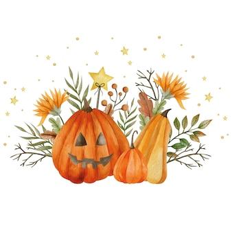 Акварельные иллюстрации тыквы и осенних растений праздник хэллоуина привет октябрь осень