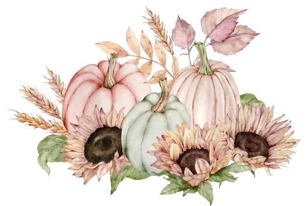 Акварельные иллюстрации тыкв, украшенных подсолнухами, осенними листьями и колосьями пшеницы