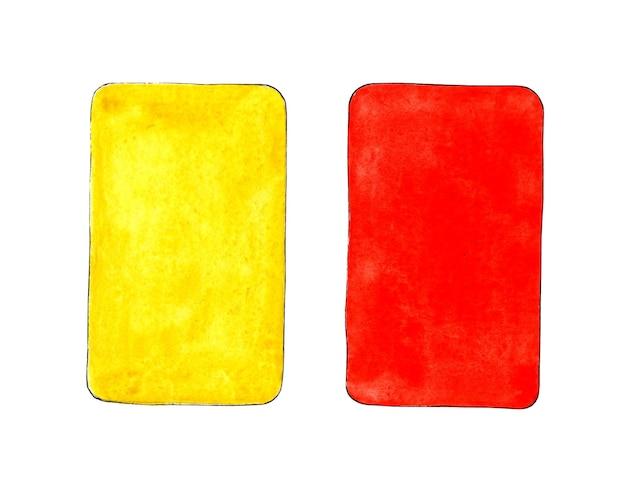 스포츠 디자인을 위한 빨간색과 노란색 카드의 수채화 그림 심사를 위한 스포츠 장비