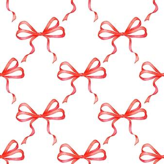 빨간 리본 패턴의 수채화 그림 원활한 반복 휴일 활 인쇄 크리스마스