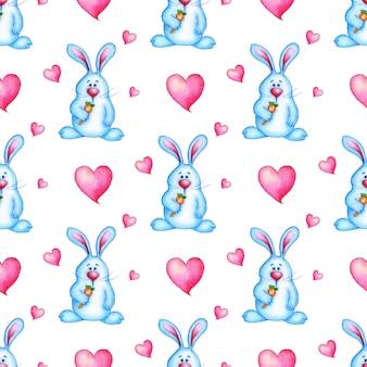 Акварельные иллюстрации бесшовные повторяющийся узор милый синий кролик с морковью в лапе и розовых сердцах. мультяшный заяц, детский душ. изолированные на белом фоне. нарисовано от руки.