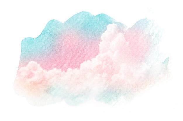 水彩画雲の空のイラスト。