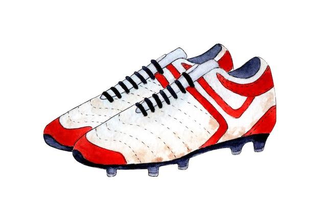 축구화 또는 럭비 신발을 위한 특별 축구화의 수채화 그림