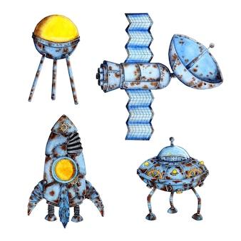 Акварельные иллюстрации космической техники. старая ржавая ракета космического корабля, спутник, нло, летающая тарелка. апокалипсис. изолированные на белом фоне. нарисовано от руки.
