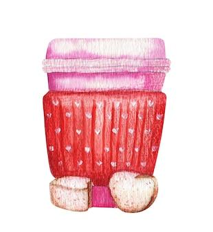 Акварельные иллюстрации на вынос бумажной чашки кофе или чая изолированы