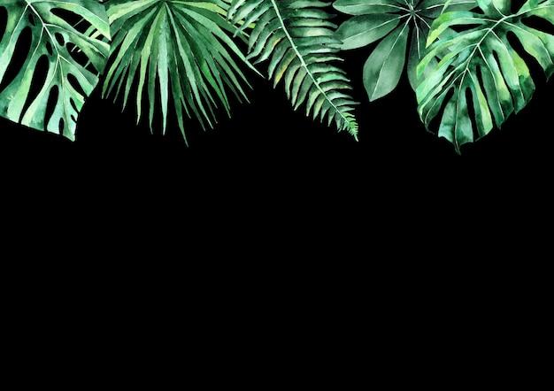 열 대 잎의 수채화 그림입니다. 열 대 잎의 프레임입니다. 결혼식 초대 프리미엄 사진
