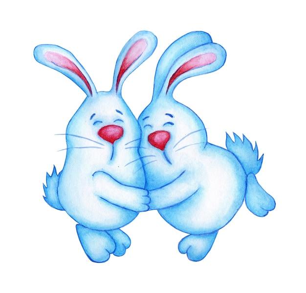 서로 포옹하는 두 개의 귀여운 파란색 부활절 토끼의 수채화 그림. 토끼는 아이들을 위해 서로 그림을 그리는 것을 좋아합니다. 흰색 배경에 고립. 손으로 그린.