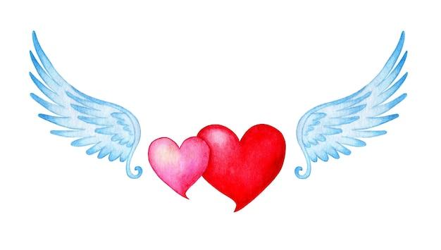 天使の羽とピンクと赤の2つのハートの水彩イラスト