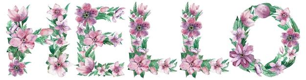 ピンクの春の花で作られた単語ハローの水彩イラスト