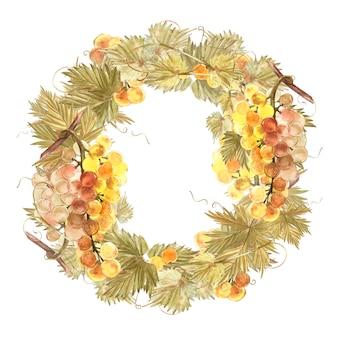 ブドウの花輪の水彩イラスト。
