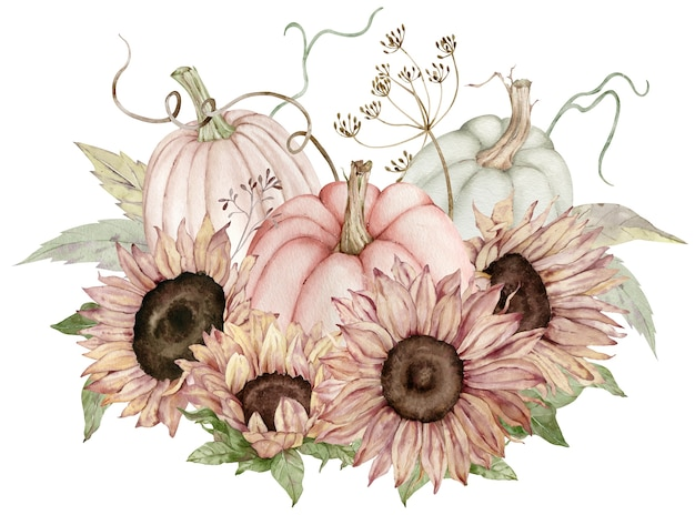 Watercolor illustration of pastel pumpkins decorated with sunflowers