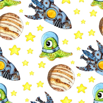 Watercolor illustration pattern alien in a spacesuit in space stars planets rocket adventures