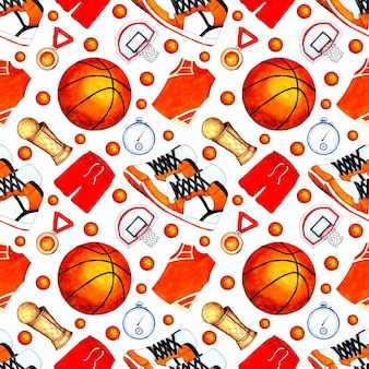 Watercolor illustration pattern of basketball ball shape cup medal and basket seamless sports r