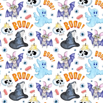 Watercolor illustration pattern for halloween seamless repeating print bat skull with candle
