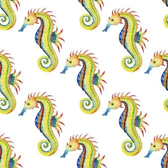 Watercolor illustration pattern of rainbow seahorse seamless repeating print of marine life