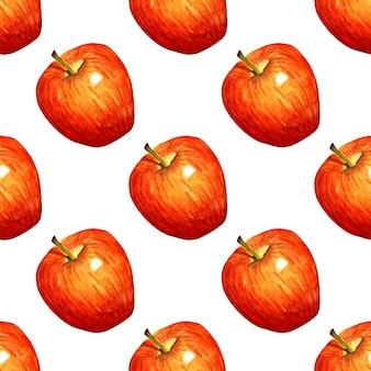 수채화 일러스트 패턴 빨간 사과 원활한 반복 과일 인쇄 유기농 과일 건강 식품