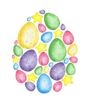 Watercolor illustration of a pattern in the shape of an easter egg filled with small elements egg