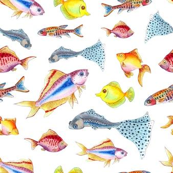 Watercolor illustration pattern small colorful aquarium fish seamless repeating marine life print