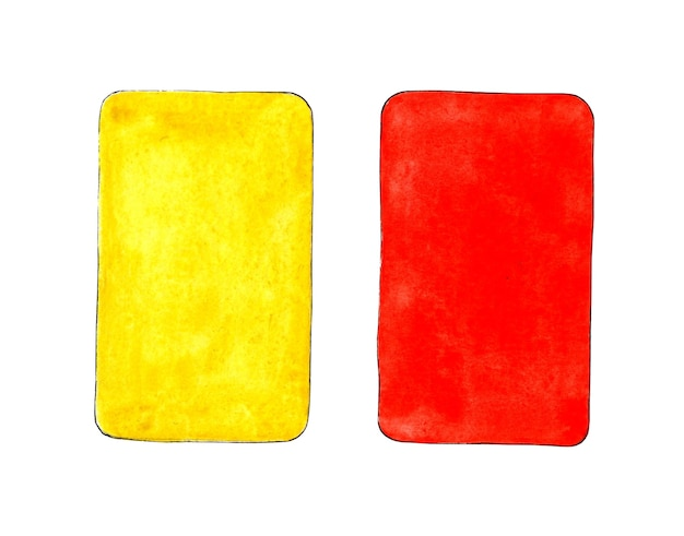Watercolor illustration of red and yellow card for sports design sports equipment for judging