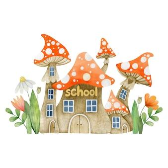 Watercolor illustration school mushroom amanita isolated on white background