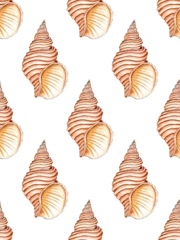 Watercolor illustration of a seamless pattern of marine spiral seashells in beige colors