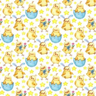 어린이와 휴가를 위한 닭과 별 디자인의 수채화 그림 원활한 패턴
