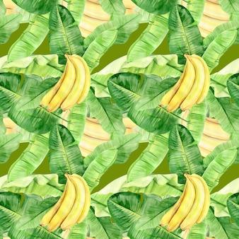 熱帯のバナナのヤシの葉と果物の水彩イラストシームレスパターン