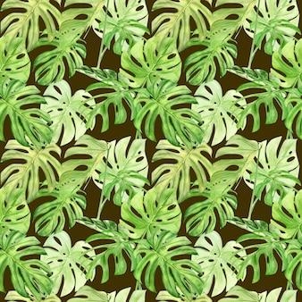 熱帯の葉のモンステラの水彩イラストのシームレスなパターン。背景テクスチャ、包装紙、テキスタイルや壁紙のデザインとして最適です。手で書いた