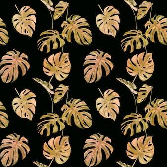 熱帯の葉モンスターの水彩イラストシームレスパターン。