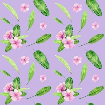 熱帯の葉と花のハイビスカスの水彩イラストシームレスパターン。背景のテクスチャ、包装紙、テキスタイル、壁紙のデザインとして最適です。手で書いた。