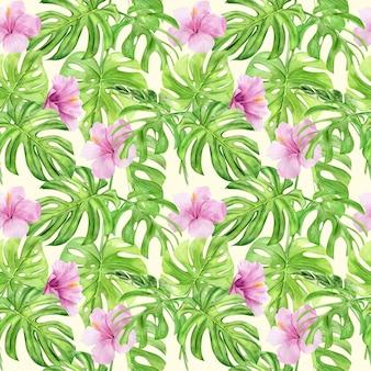 熱帯の葉と花のハイビスカスの水彩イラストシームレスパターン。