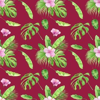 熱帯の葉と花のハイビスカスの水彩イラストのシームレスなパターン。