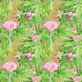 熱帯の葉とピンクのフラミンゴの水彩イラストシームレスパターン。