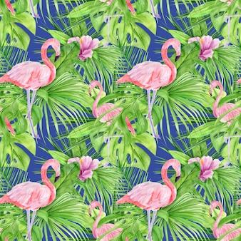 熱帯の葉とピンクのフラミンゴの水彩イラストのシームレスなパターン。