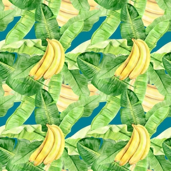 Watercolor illustration seamless pattern of tropical banana palm leaves and fruits