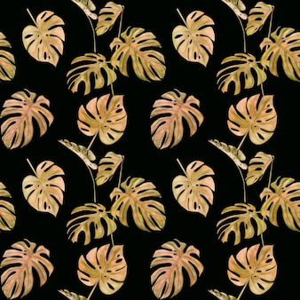Watercolor illustration seamless pattern of tropical leaf monstera.