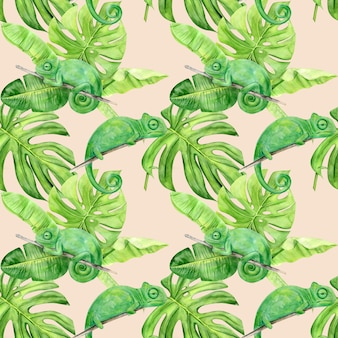 Watercolor illustration seamless pattern of tropical leaves and chameleon.