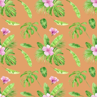 Watercolor illustration seamless pattern of tropical leaves and flower hibiscus.