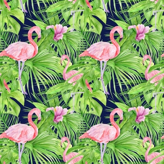 Watercolor illustration seamless pattern of tropical leaves and pink flamingo