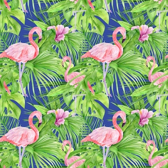 Watercolor illustration seamless pattern of tropical leaves and pink flamingo.