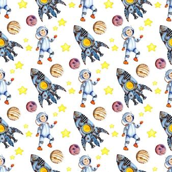 Акварельные иллюстрации бесшовные повторяющийся узор космос, ракета, космонавт, звезды, планеты. красочный дизайн для принтов на бумаге, ткани и одежде. изолированные на белом фоне. нарисовано от руки.
