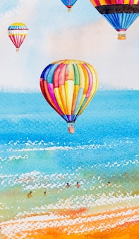 Watercolor illustration seascape colorful of in summer