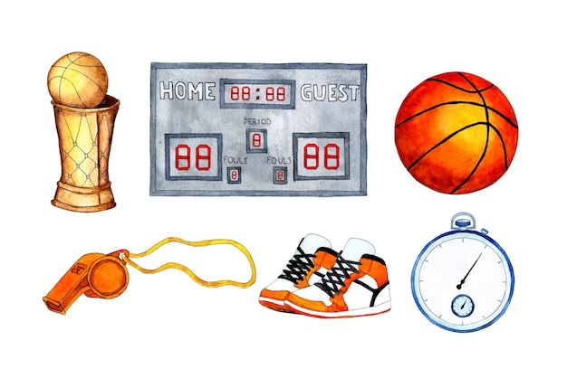 Watercolor illustration set of basketball cup ball stopwatch scoreboard whistle and sneakers