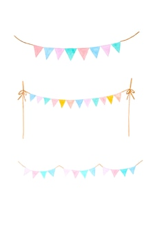Watercolor illustration, set of colorful party bunting flag watercolor drawing isolated on white background